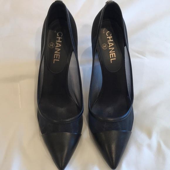 ce82938e1a6 Chanel heels with mesh sz 37.5 (like new)